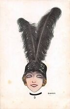 c.1920 sgd. Bianchi Art Deco Lady with large Feather Hat post card