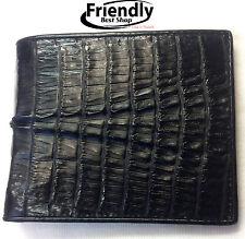 Crocodile Alligator Wallets Skin Leather Tail Bifold Black Men's Accessories