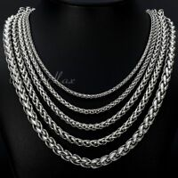 3/4/5/6/8/10mm Boys Men's Chain Stainless Steel Wheat Link Silver Tone Necklace