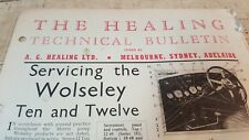 1937 WOLSELEY TEN & TWELVE Healing Australia Technical Bulletin