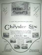 PUBLICITE DE PRESSE CHRYSLER SIX AUTOMOBILE SAINT-DIDIER FRENCH AD 1924