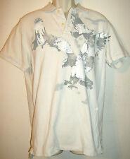 American Eagle Outfitters Camisa Polo De Hombre Talla G Crema Blanca & Gris ,EUA