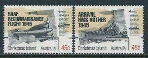 1995 CHRISTMAS ISLAND END OF WORLD WAR II SET OF 2 FINE MINT MNH