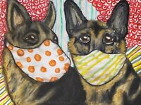 German Shepherd Masks Giclee Art Print 11x14 Signed by Artist KSams Dogs Vintage