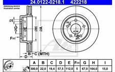 2x ATE Rear Brake Discs Vented 300mm 24.0122-0218.1 - Discount Car Parts