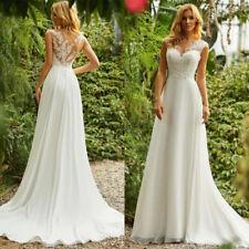 New Boho Wedding Dresses A-Line Applique Chiffon Beach Bridal Gowns Custom