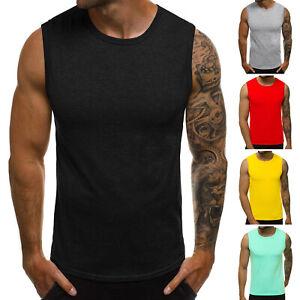 Tanktop T-Shirt Muskelshirt Achselshirt Sport Basic Unifarben Herren OZONEE 0328
