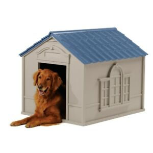 Indoor & Outdoor Dog House for Medium and Large Breeds, Tan/Blue