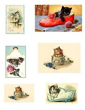 Sweet Vintage Kittens Cotton Crazy Quilt Blocks FrEE ShiPPinG WoRld WiDE