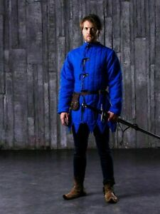 Medieval Gambeson Blue thick padded Reenactment & Theater