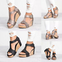 Women Platform Wedge Sandals Open Toe Summer Beach Ankle Strap Espadrilles Shoes