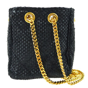 CHANEL CC Quilted Chain Mini Hand Pouch Black Linen Bag Charm Authentic 81109
