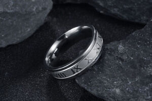 Classical Titanium Steel Fidget Ring for Men Roman Numeral Memorial Wedding Ring