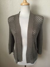 Chico's Loose Knit Cardigan Sweater Size 1 (M) Taupe Cotton/Nylon 3/4 Sleeve