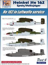 H-Model Decals 1/72 Heinkel He 162 in Luftwaffe Service Pt.4 # 72044