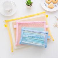 Clear Exam Pencil Case Transparent Simple Mesh Zipper Stationery Bag School C