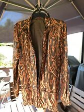 EUC VINTAGE `70's HIPPY BOHO BROWN & BLACK ANIMAL PRINT ZIP-UP JACKET - Size 10