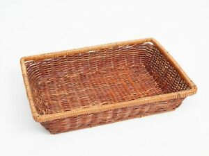 Vintage Wicker Basket Tray Mid Century Bamboo Tiki Woven Decorative Fruit Bowl