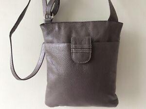 SIENNA DE LUCA real leather ladies small grey messenger crossbody shoulder bag