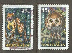 Australia: full set of 2 used stamps, Nocturnal Animals, 1997, Mi#1670-1