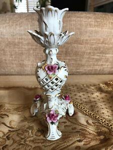 Meissen Candlestick holder Hand Painted Porcelain, lattice w/ flowers, gilding