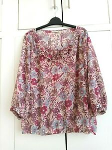 M&S ladies pink & blue mix, floral, sheer Polyester blouson top  - Size 14