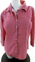 VAN HEUSEN WOMEN'S PINK POLKA DOT BUTTON UP 3/4 SLEEVE SHIRT SIZE L