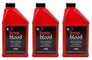 LOT OF 3 - Fun World Professional Halloween Red Fake Vampire Stage Blood 16 floz