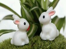 2 White Rabbits For Fairy Garden/Dollhouse/Bonsai/Terrarium Craft UK