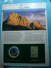 ZION UTAH NATIONAL PARK COLOR 999 SILVER & STAMP US EAGLE COIN SHARP