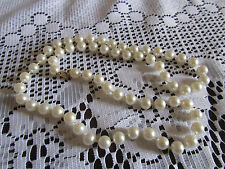 """Shiny Cream Faux Pearl 8mm Plastic Bead Necklace - 24"""" long"""