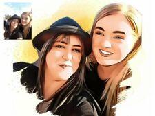 Personalised Cartoon Portrait Art Print Turn a Photo Into Artwork A4 Print