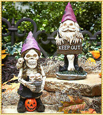 New listing Ghoulish Halloween Skeleton Garden Gnome Boy or Girl Statue Lawn Ornament Decor