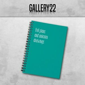 Evil Plans And Unicorn Drawings A5 Notebook Work Funny Slogan Stationery