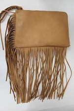 DV Women's Fringe Faux Leather Wristlet Purse Handbag Clutch - Brown NWT