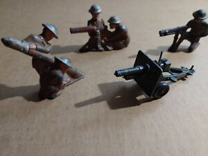 ww1 toy soldiers 3 soldier lot and gun