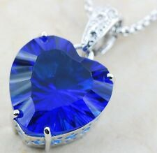 925 Sterling Silver Sapphire Pendant Huge Concave Cut SALE! Reg. $110