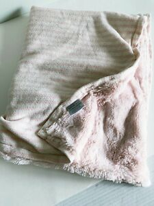 Restoration Hardware Baby & Child Pale Pink Striped Blanket With Sherpa Side