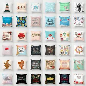 "Wreath Polyester Home Decor Throw Pillow Case Cushion Cover 18"" Merry Christmas"