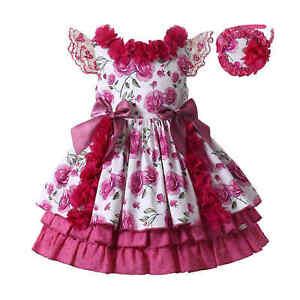 UK Spanish Girls Princess Dress Ruffled Birthday Party Dresses With Bows Summer