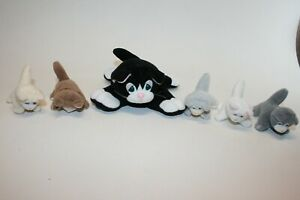 Lot of 6 Vintage Pound Puppies Cats Mother and 5 Kittens Galoob NO TAGS