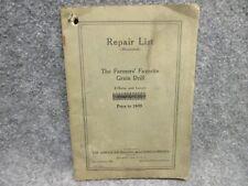 1925 American Seeding Machine Co Repair List The Farmers Favorite Grain Drill