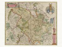 Alte Pfalz Rheinpfalz Deutschland Landkarte Blaeu ca. 1655 Papier Leinwand