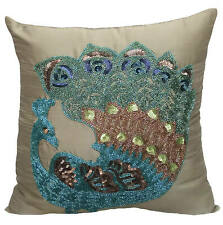 Euro Pillow Sham 26x26 inch Decorative Taupe Green Silk - Taupe Green Peacock