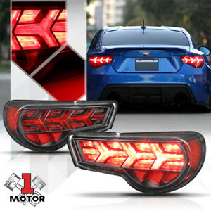 Black/Clear *SEQUENTIAL RED SIGNAL* Tail Light Lamp for 13-19 Scion FRS/86/BRZ