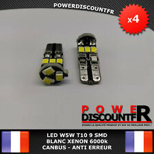 4 Veilleuses LED W5W T10 Canbus ANTI ERREUR ODB Blanc XENON 9 SMD voiture moto