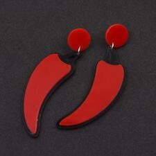paio di divertenti acrilico orecchini - Rosso CHILLIE PEPERONI cg0994
