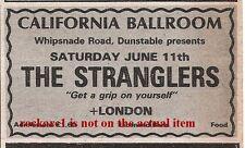 STRANGLERS UK TIMELINE Advert - Dunstable Sat-11-June-1977 3x2 inches