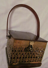 vintage tortoise lucite / gold tone filigree cutout art deco box purse hand bag