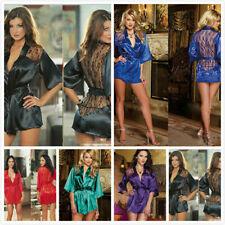 UK Sexy Women Lace Dressing Gown Bath Robe Babydoll Nightie Nightdress Lingerie